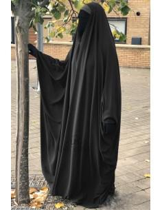 Big saudischer Jilbab Umm Hafsa V-Ausschnitt - Schwarz