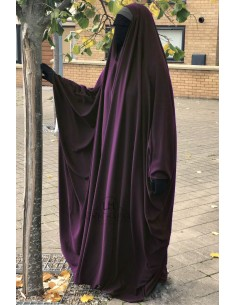 OPEN V NECK Big Jilbab 1pc Brown Umm Hafsa - Purple