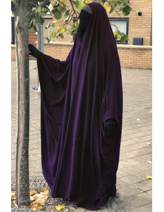 OPEN V NECK Big Jilbab 1pc Brown Umm Hafsa - Eggplant