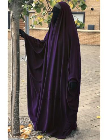 Big Jilbab Saoudien Umm Hafsa Col V - Aubergine