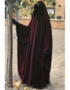 Big saudischer Jilbab Umm Hafsa V-Ausschnitt - Burgund