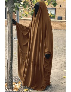 OPEN V NECK Big Jilbab 1pc Brown Umm Hafsa - Cinnamon