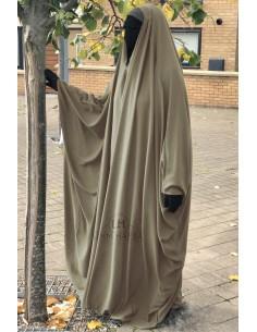 Big saudischer Jilbab Umm Hafsa V-Ausschnitt - Taupe