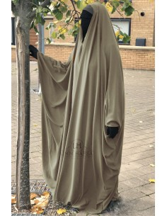 OPEN V NECK Big Jilbab 1pc Brown Umm Hafsa - Taupe