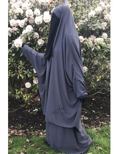 """Jilbab 2 pieces Classique """"jupe"""" Umm Hafsa """"Caviary"""" - Gris"""