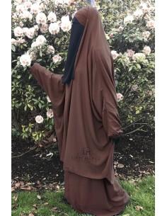 """Jilbab 2 pieces Classique """"jupe"""" Umm Hafsa """"Caviary"""" - Marron"""