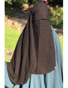 Niqab 2 Voiles Casquette 105cm Umm Hafsa - Noir