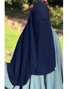 Two Layer Flap Niqab 3ft5 Umm Hafsa - Blue