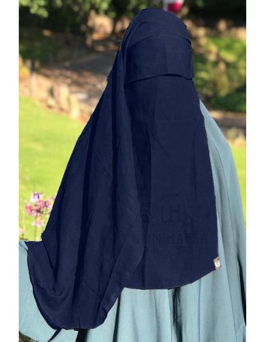 Niqab 2 Voiles Casquette 105cm Umm Hafsa - Bleu