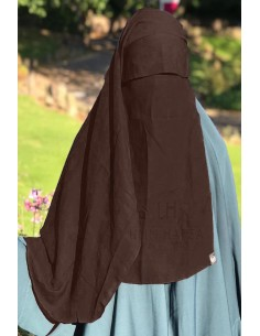 Two Layer Flap Niqab 3ft5 Umm Hafsa - Brown