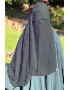 Niqab 2 Voiles Casquette 105cm Umm Hafsa - Gris