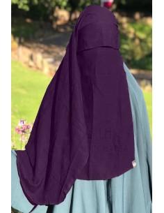 Niqab 2 Voiles Casquette 105cm Umm Hafsa - Prune
