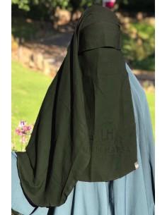 Niqab 2 Voiles Casquette 105cm Umm Hafsa - Kaki