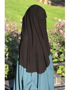 Niqab deux Voiles Casquette 95cm Umm Hafsa - Noir
