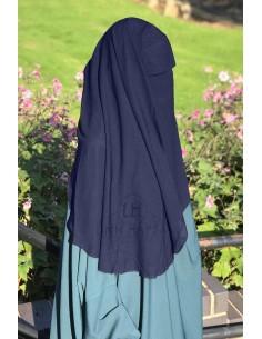 Niqab deux Voiles Casquette 95cm Umm Hafsa - Bleu