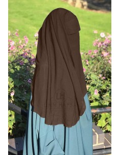 "2 Layer Flap Niqab ""3ft1"" by Umm Hafsa - Brown"