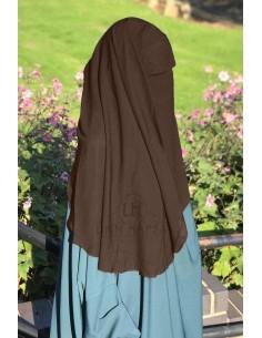 Niqab deux Voiles Casquette 95cm Umm Hafsa - Marron