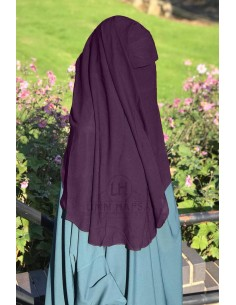 Niqab deux Voiles Casquette 95cm Umm Hafsa - Prune