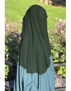Niqab deux Voiles Casquette 95cm Umm Hafsa - Kaki