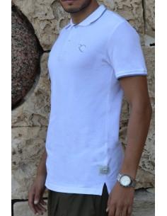 Oversized polo shirt 100% cotton Rayane - White